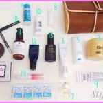 in my travel skincare make up and toiletries bag