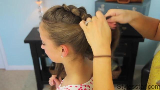 Pancake Braid with Double Twists _ Updos _ Cute Girls Hairstyles_HD720 17