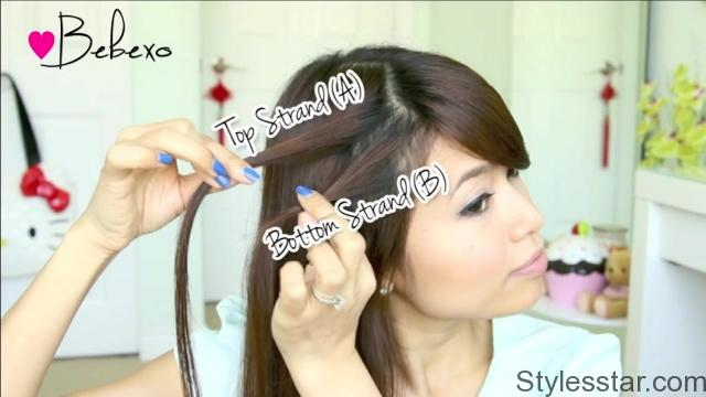 double waterfall twist hairstyle for medium long hair tutorial bebexo 05