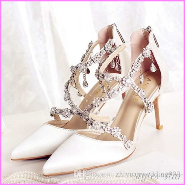2018 Luxury Crystal Satin Bridal Wedding Shoes for Evening Party ...