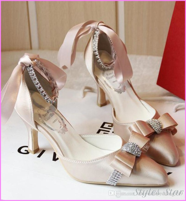 2018 Luxury Satin Bridal Wedding Shoes with Robin Bow for Evening ...