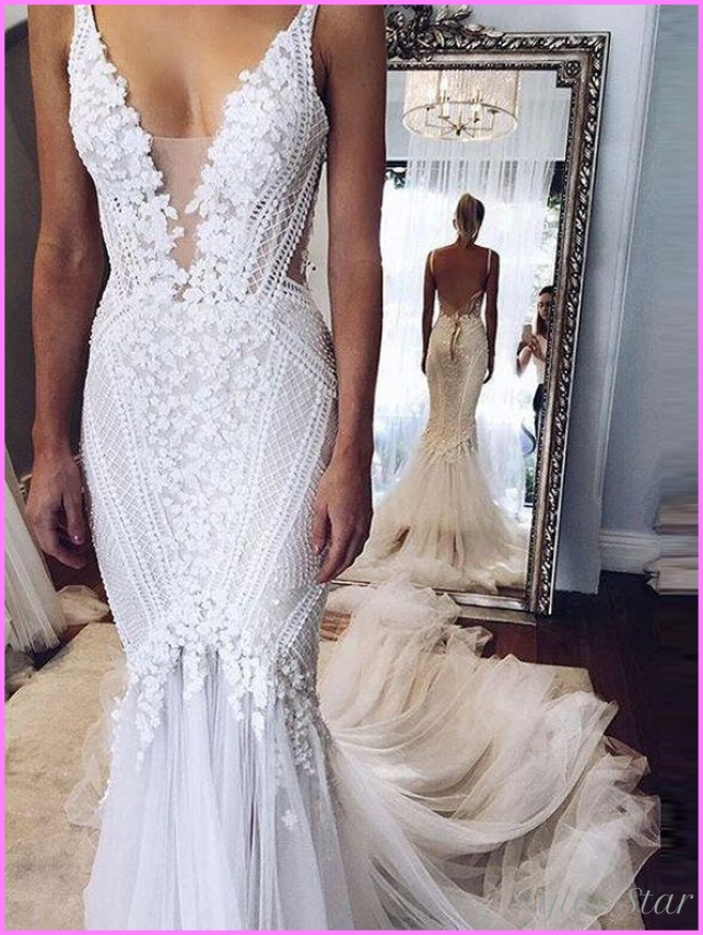 Sexy Chic Wedding Dresses Straps Appliques Sweep/Brush Train ...